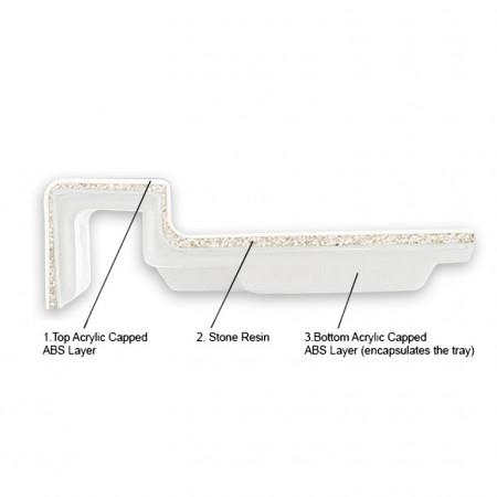 Merlyn M Stone Right Hand Offset Quadrant Tray 1200 x 900mm