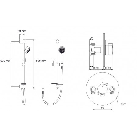 STY-Mira Miniduo Thermostatic Shower BIV (Built-In Valve) All Chrome-4