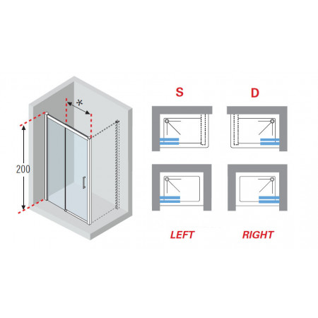 Novellini Kuadra 2P Sliding Shower Door 1080mm - 1140mm