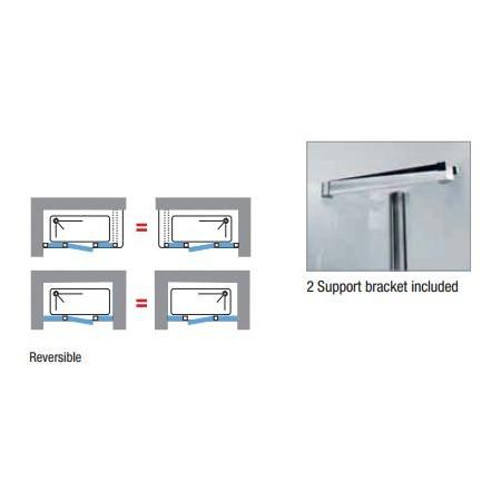 Novellini Kuadra G+2F In Line Hinged Door & 2 Panels 1740mm - 1800mm