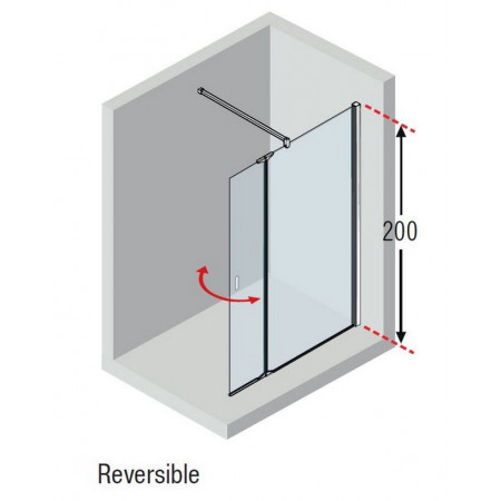 Novellini Kuadra H+HA 770-800mm Fixed Shower Panel & Pivoting Section