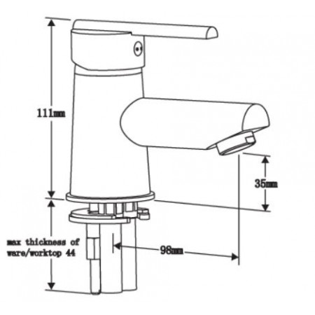 Pegler Pulsar Mini Basin Mixer with Flip waste