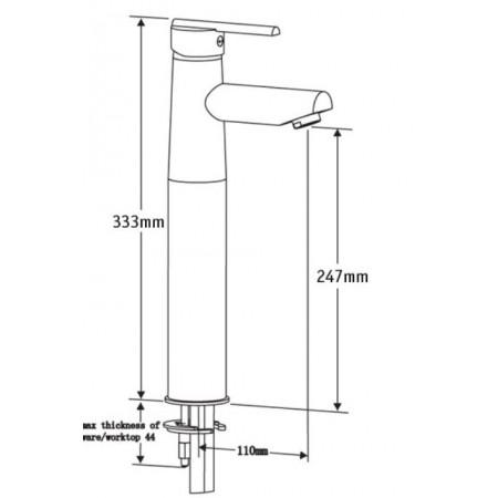 Pegler Pulsar Tall Basin Mixer with Flip waste