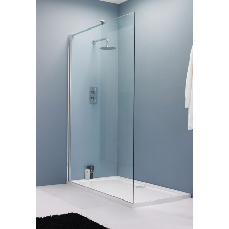 8mm Safety Glass 1400mm Wet Room Screen & Support Bar