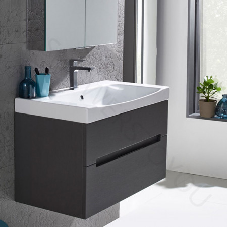 Roper Rhodes Diverge Charcoal Elm 800mm Wall Mounted Unit with Basin