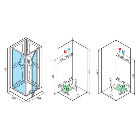 Novellini Shower Pod 800mm Pivot Door & Panel Shower Pod | MEDG80T