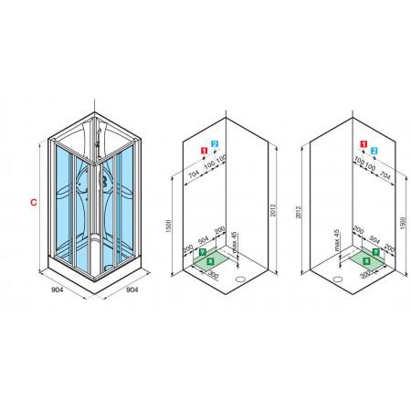 Novellini Shower Pod 900mm Corner Entry Shower Pod | MEDA901A