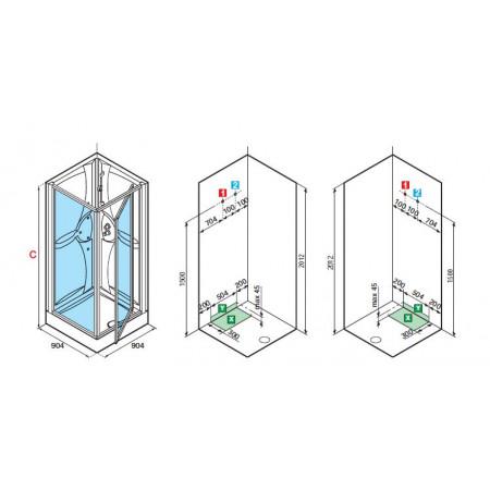 Shower Pod, 900mm Pivot Door & Panel Shower Pod MEDG90T