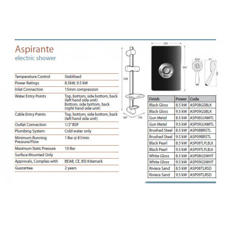 Triton Aspirante Electric Shower Gun Metal 8.5kw
