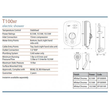 Triton T100XR Electric Shower 10.5KW White & Chrome
