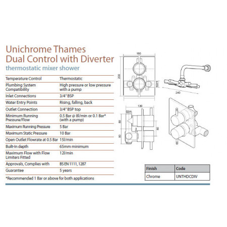 Triton Thames dual control mixer with diverter, valve only | UNTHDCDIV