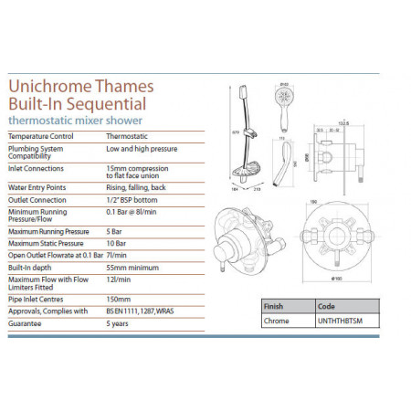 Triton Unichrome Thames Built in Sequential Shower