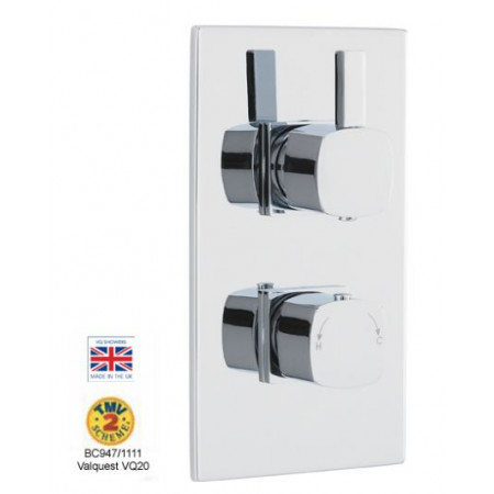 Twin Concealed Thermostatic Shower Valve Soft Square Handles