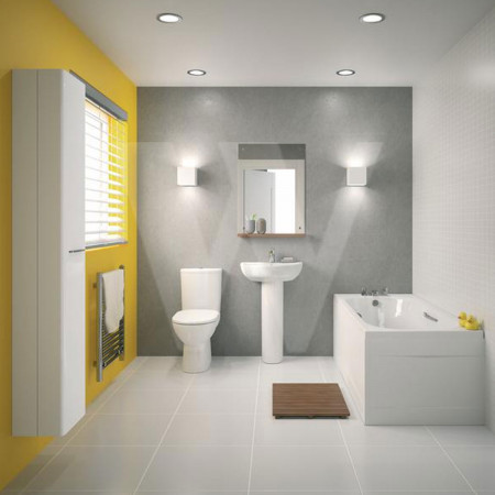 Twyford E100 round premium toilet and cistern with horizontal outlet