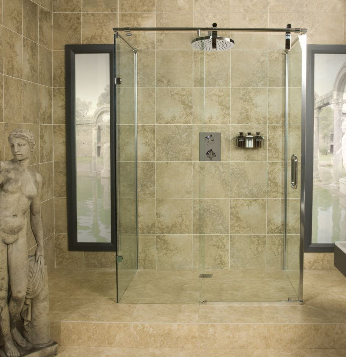 Roman Decemx Sliding Shower Enclosure Straight Wall
