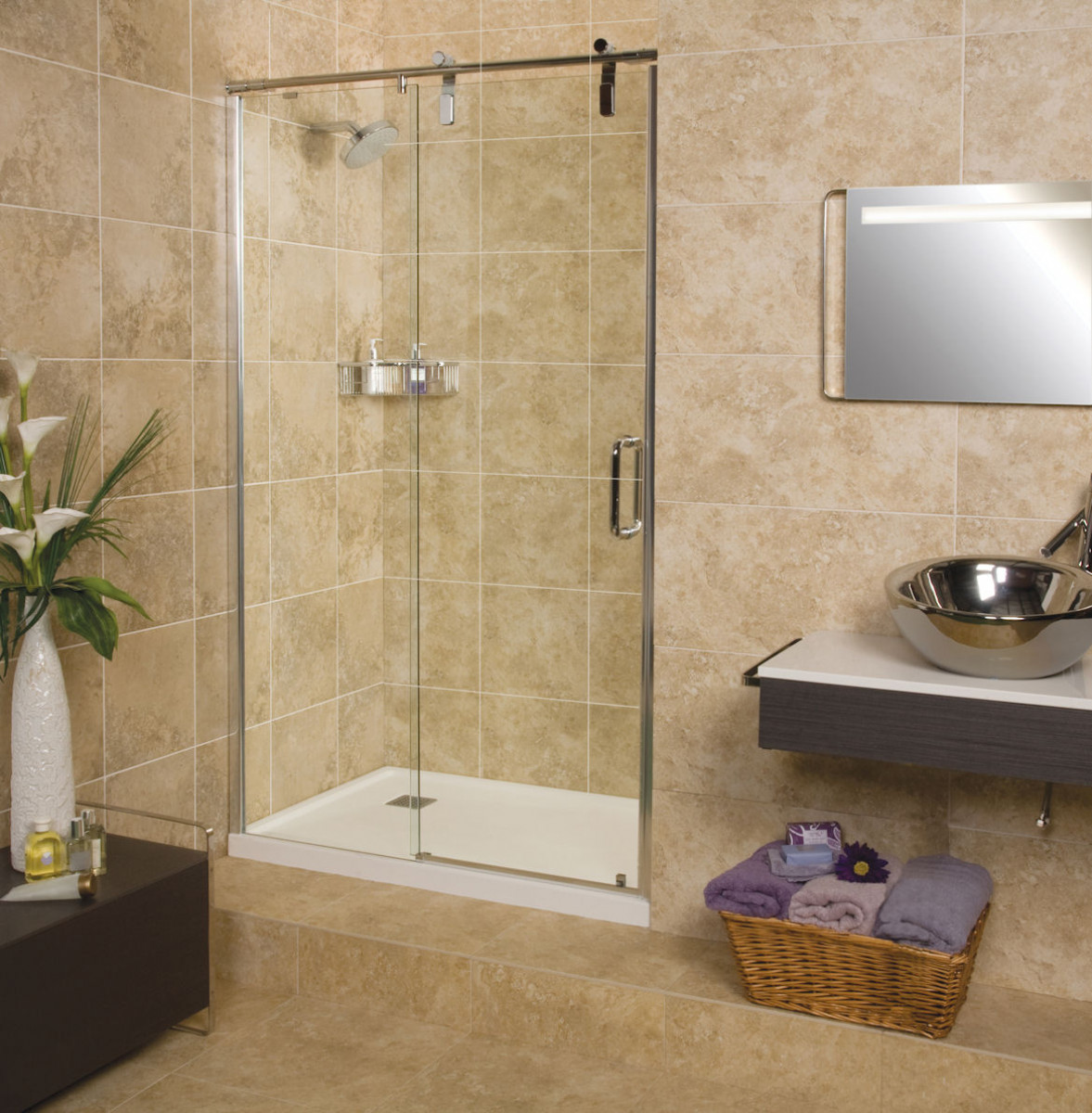 Roman Decemx Sliding Shower Door 1200mm Alcove Fitting