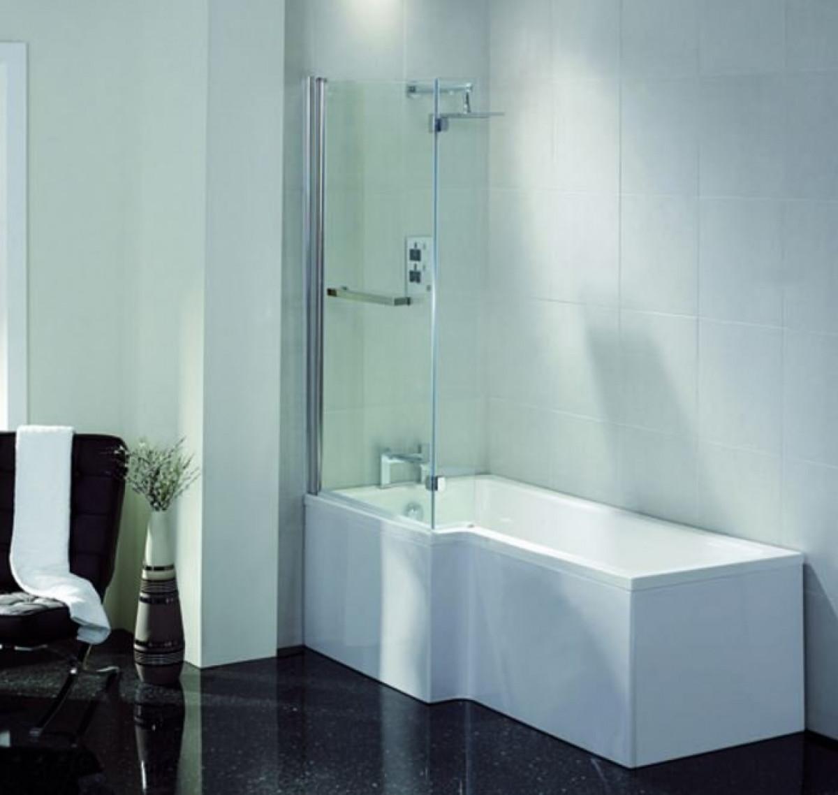 April L Shape Left Hand 1600mm Shower Bath | 28C1601L