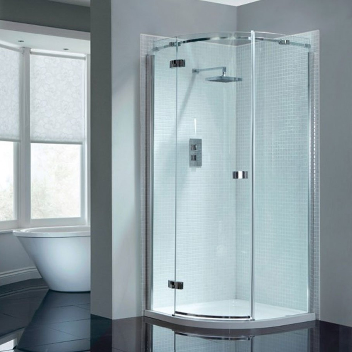 April Prestige2 Frameless Single Door Quadrant Shower