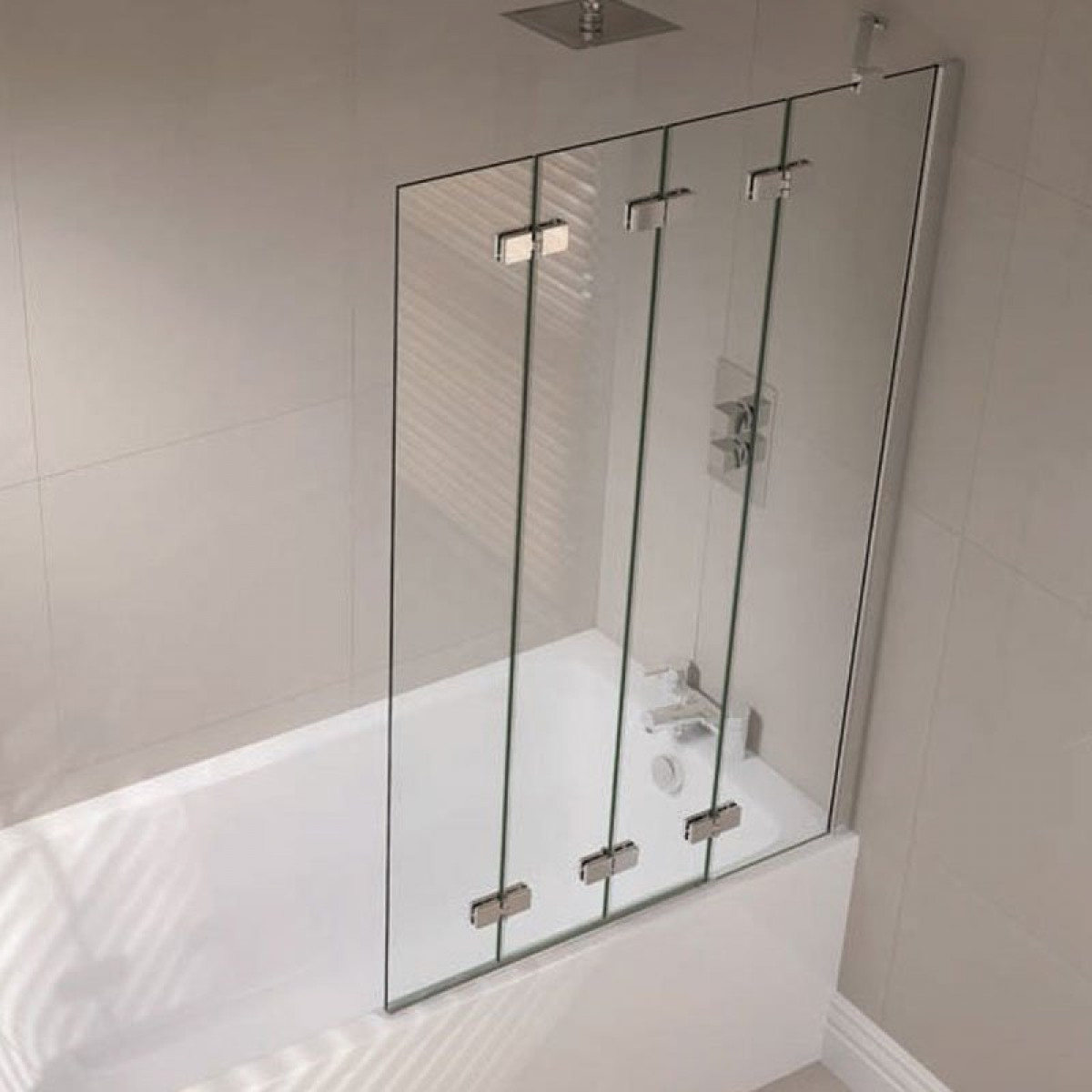 Exceptionnel April Prestige Frameless 4 Fold Bath Screen Right Hand