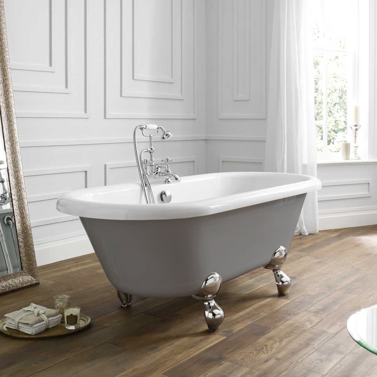 April Skipton Double Ended Freestanding Bath In Dove Grey