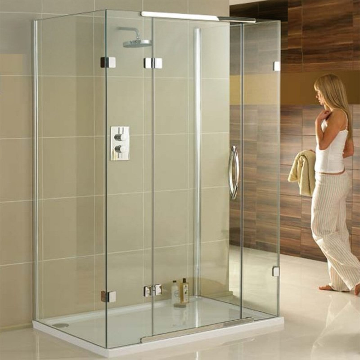 Aquadart 1200 x 800mm 3 sided shower enclosure for 1200 shower door 8mm glass