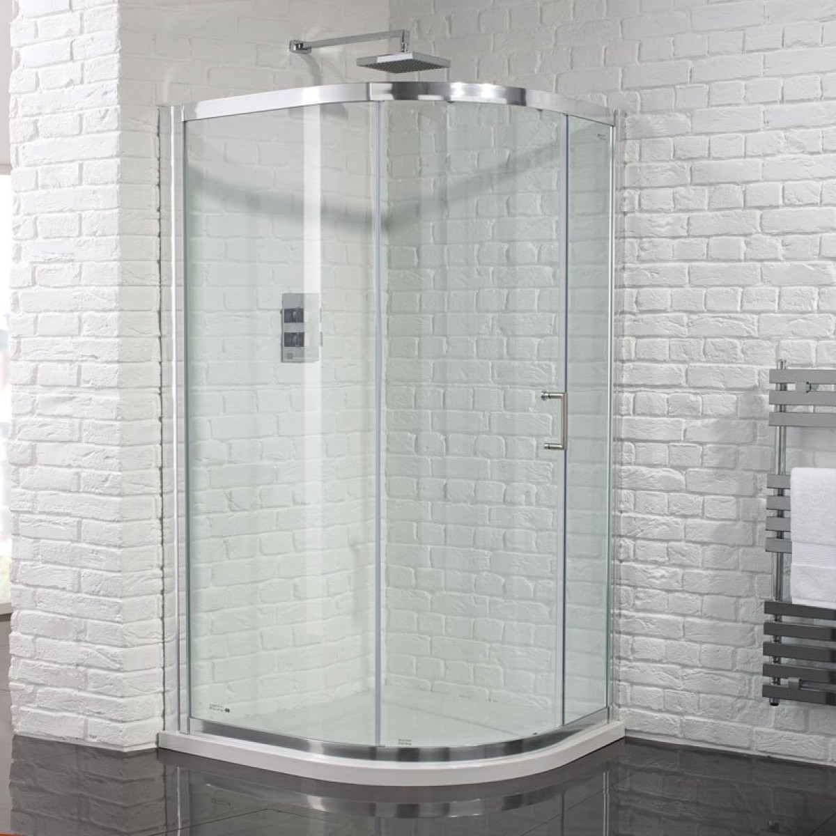 Best Quadrant Shower Enclosure Part - 35: Aquadart Venturi 6 Single Door 1000 X 800mm Offset Quadrant Shower Enclosure