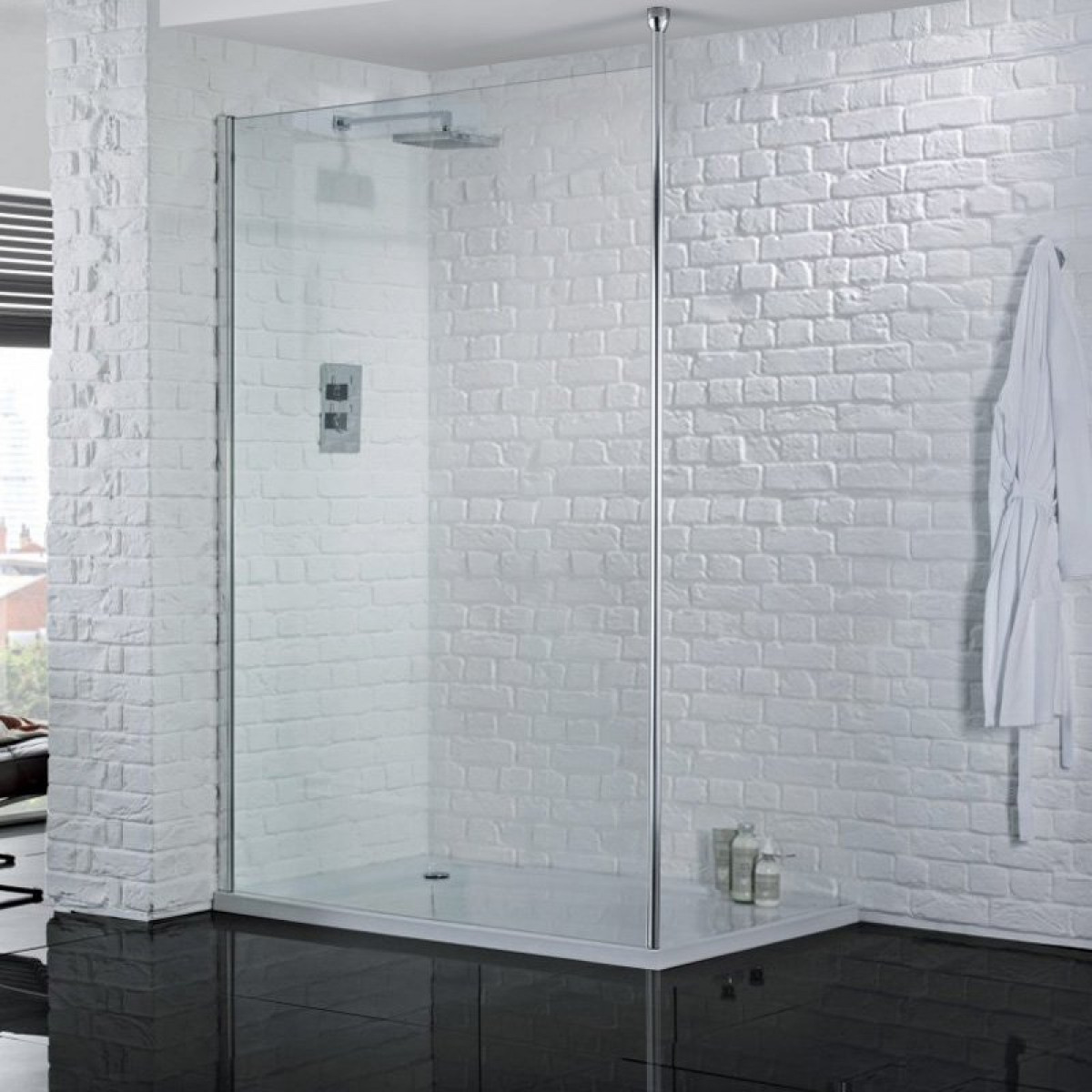 Aquadart Wetroom 8 1600mm Safety Glass Shower Panel Aq8249s
