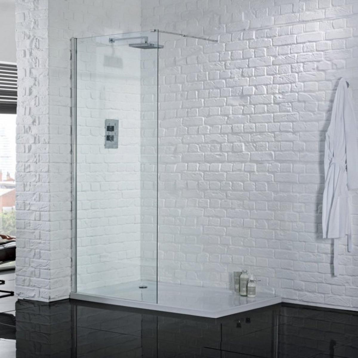 Aquadart Wetroom 8 1600mm Safety Glass Shower Panel Aq8249s
