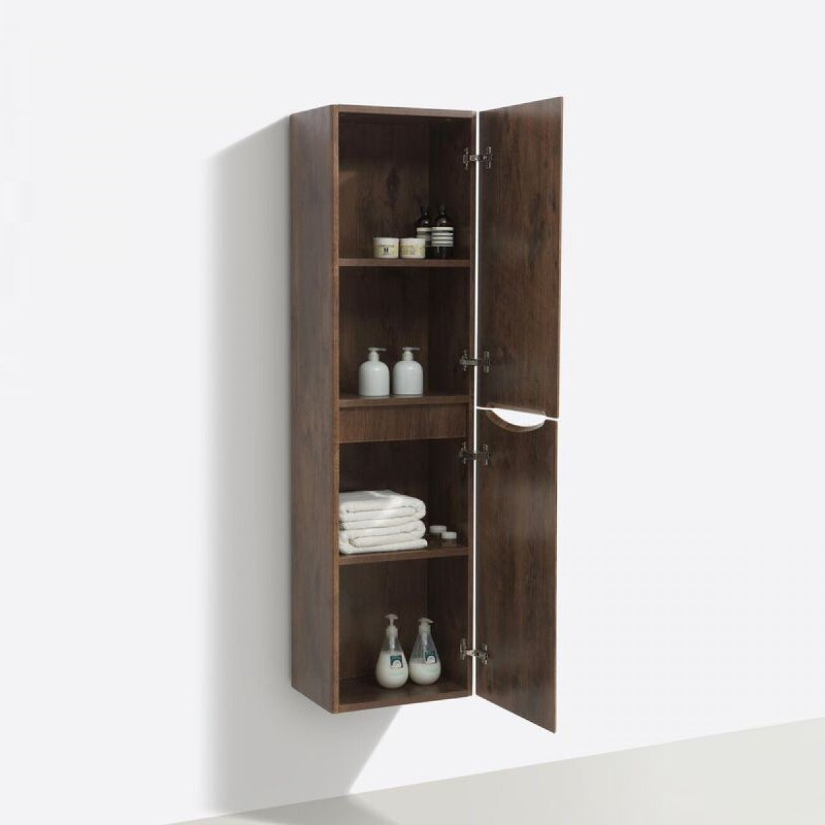 cassellie bali chestnut wall mounted storage cabinet with soft close doors wmsc150c. Black Bedroom Furniture Sets. Home Design Ideas