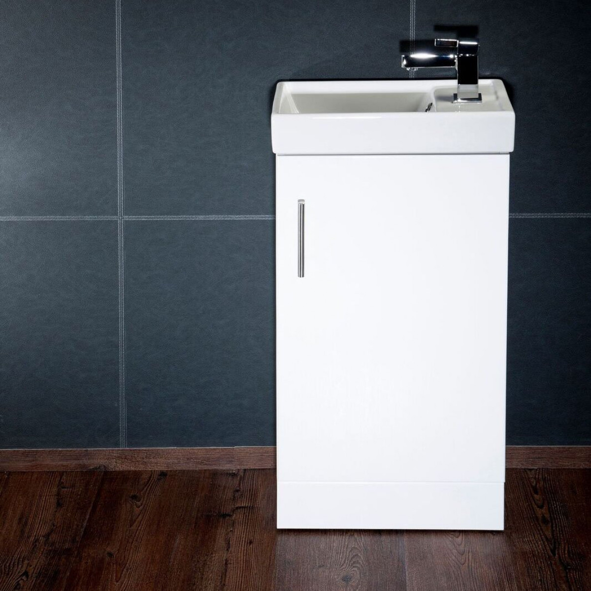 Cassellie Cube Single Door Vanity Unit In Gloss White 400mm Chi003