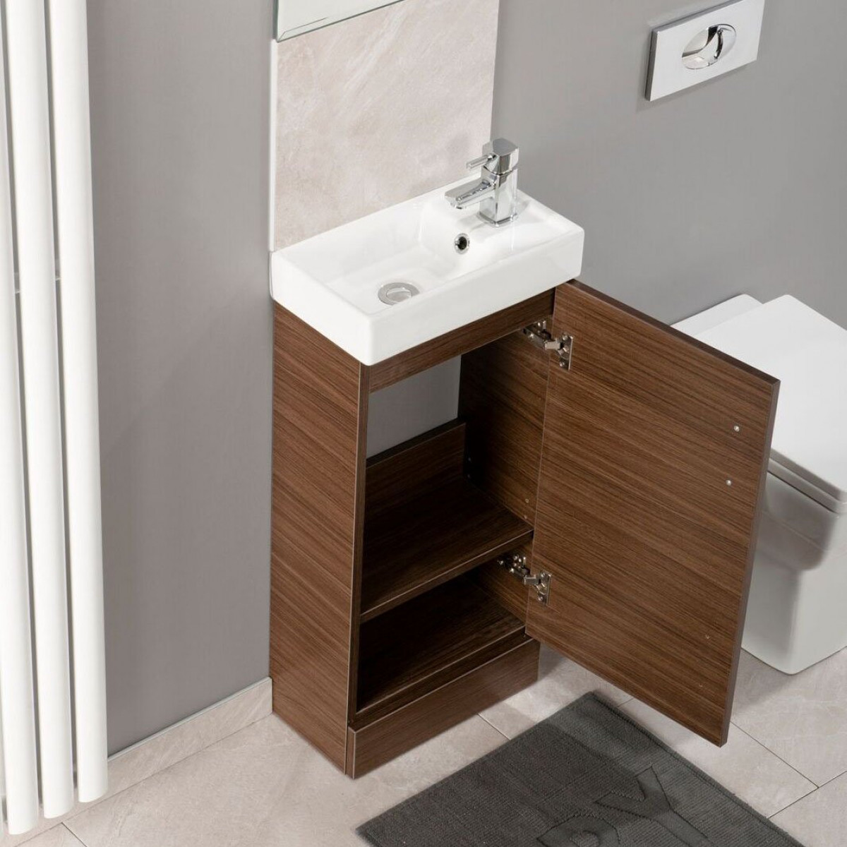 Cassellie cube single door vanity unit in walnut 400mm for Bathroom cabinets 400mm wide