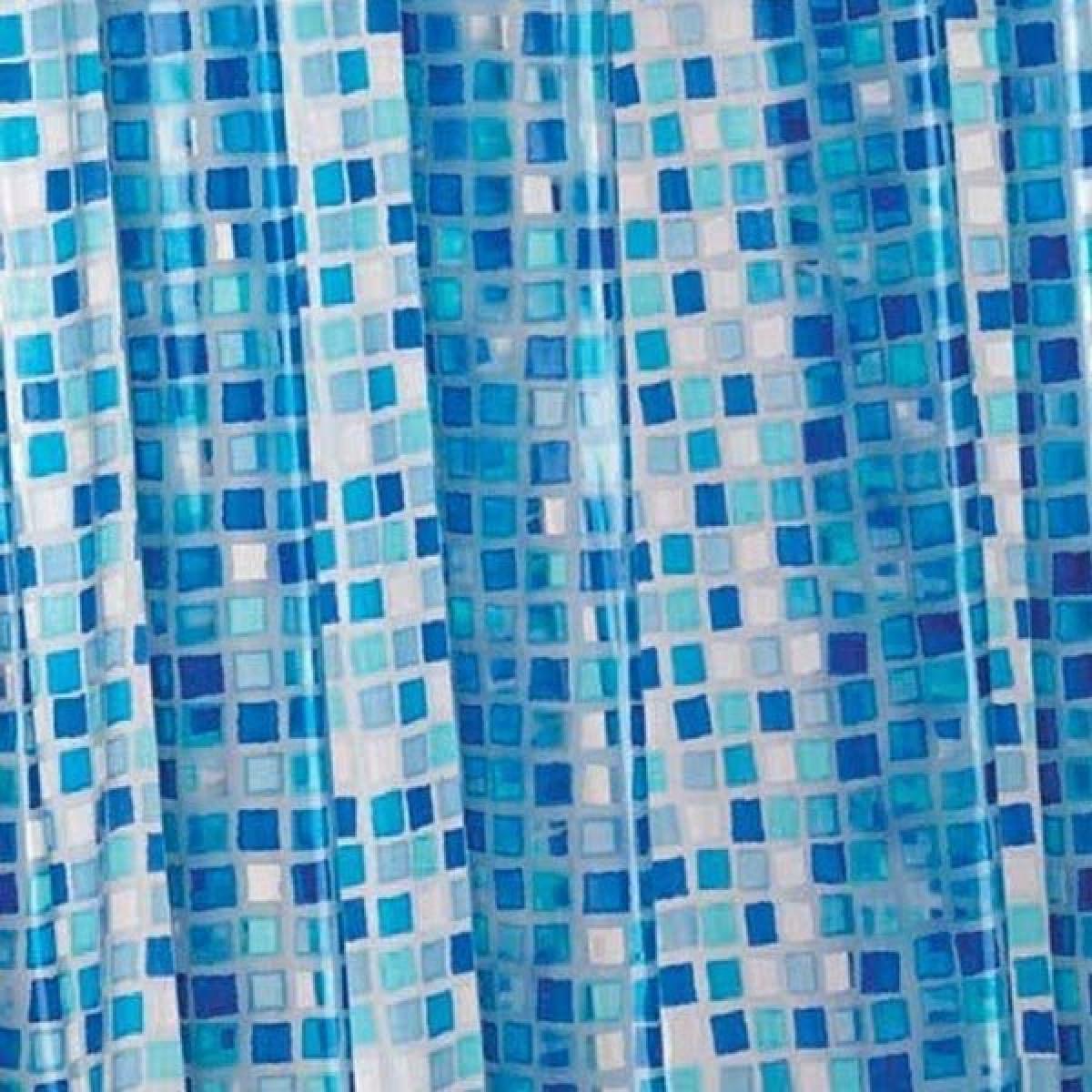 croydex blue mosaic pvc shower curtain ae543424. Black Bedroom Furniture Sets. Home Design Ideas