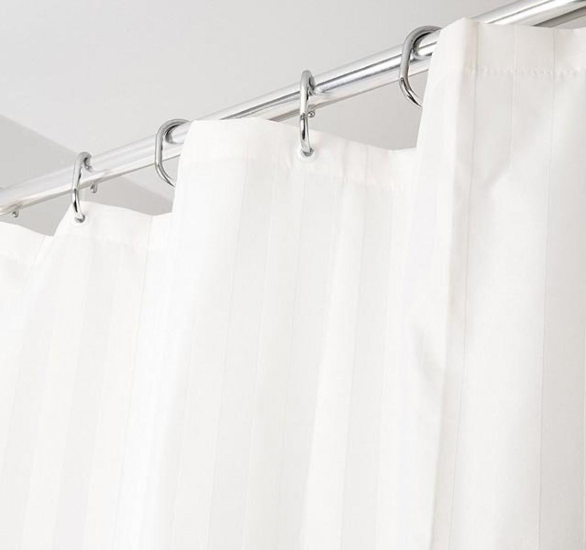 croydex textile shower curtain ivory woven stripe af286117. Black Bedroom Furniture Sets. Home Design Ideas