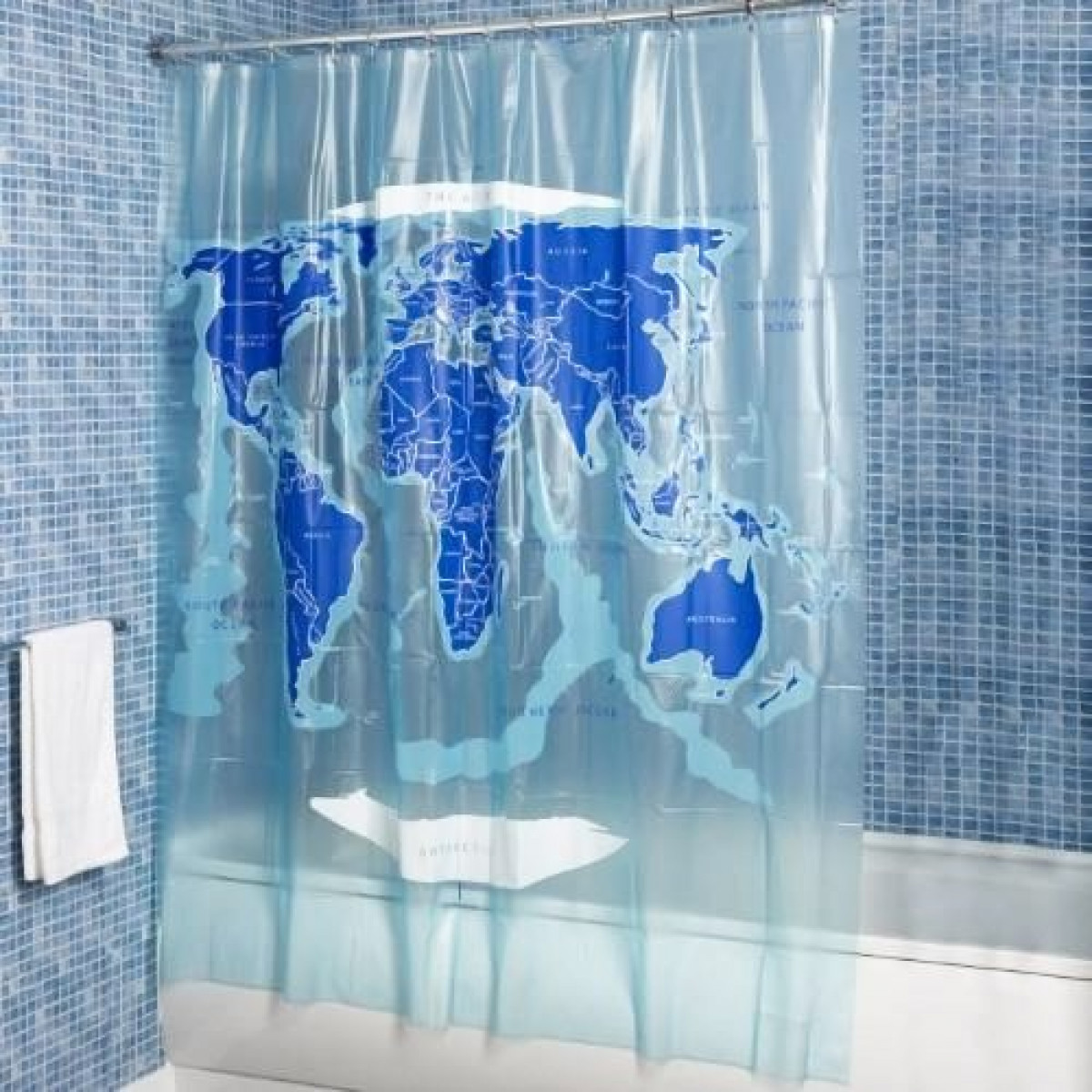 Croydex World Map PVC Shower Curtain