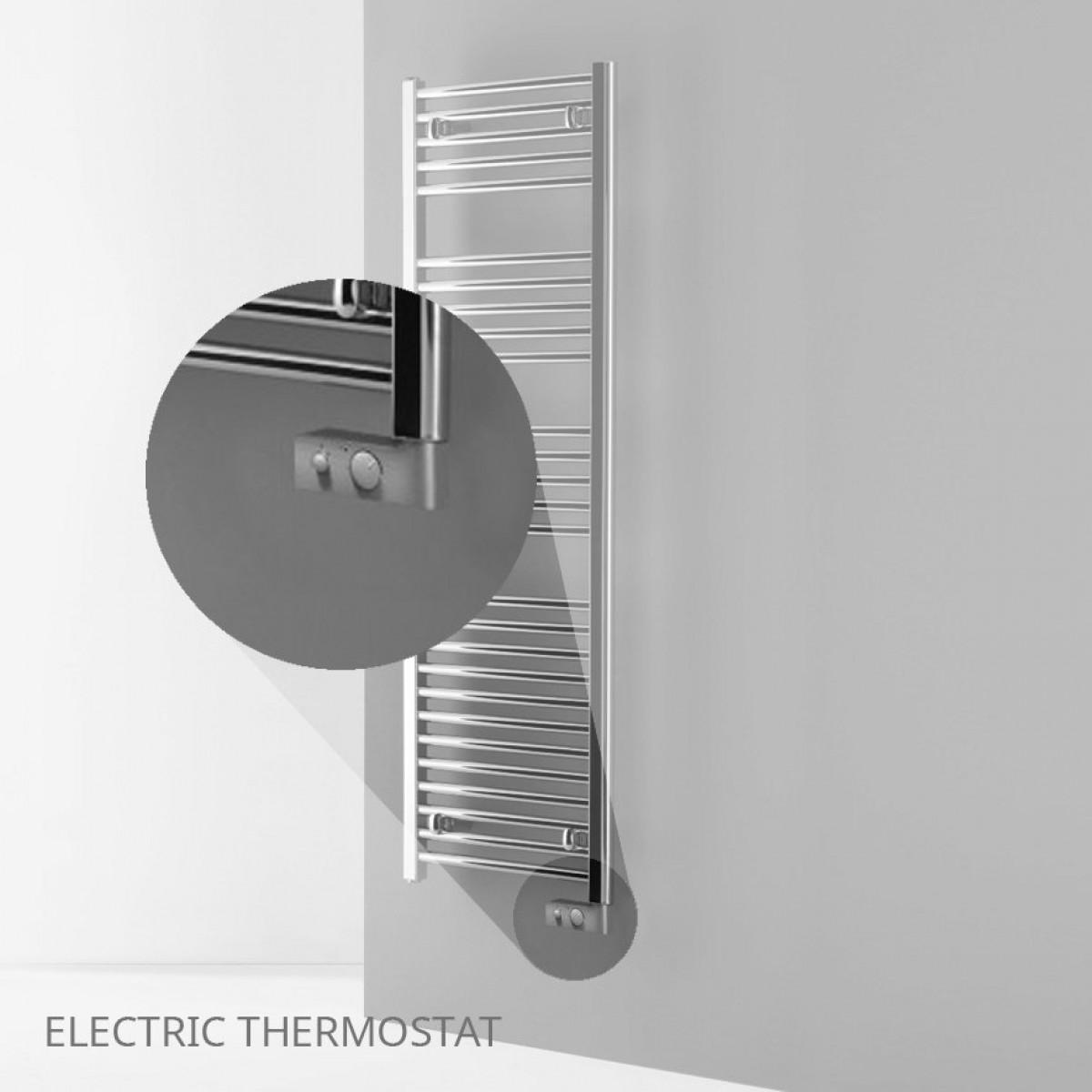 Heated Towel Rails Electric Chrome: Electric Chrome Thermostatic Heated Towel Rail 840 X 500mm