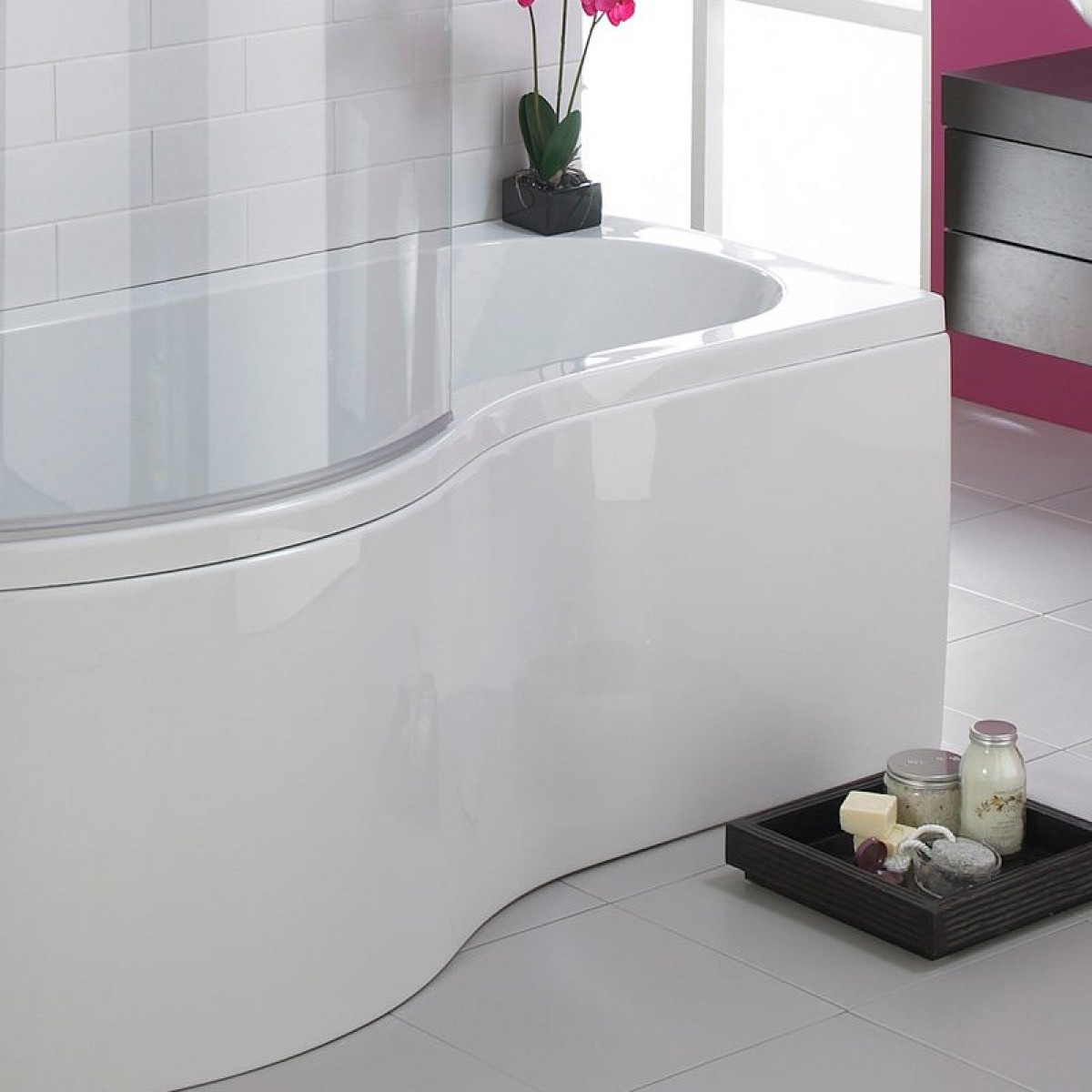 Essential Hampstead 1500mm P Shape Shower Bath Inc Bath