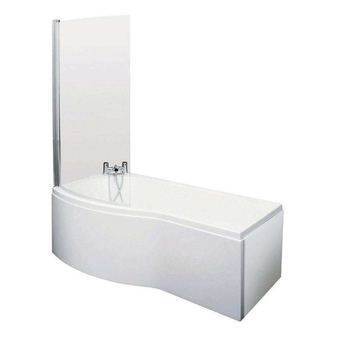 Essential Hampstead 1700mm P Shape Shower Bath Inc Screen Left Hand