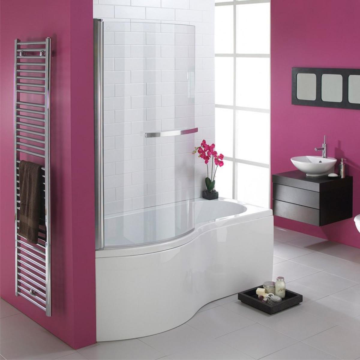 Essential Hampstead 1700mm P Shape Shower Bath Inc Bath