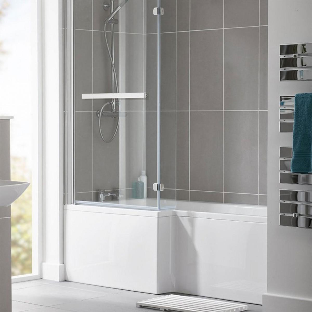 Essential Kensington 1700mm Square Shower Bath inc Bath Screen Left Hand