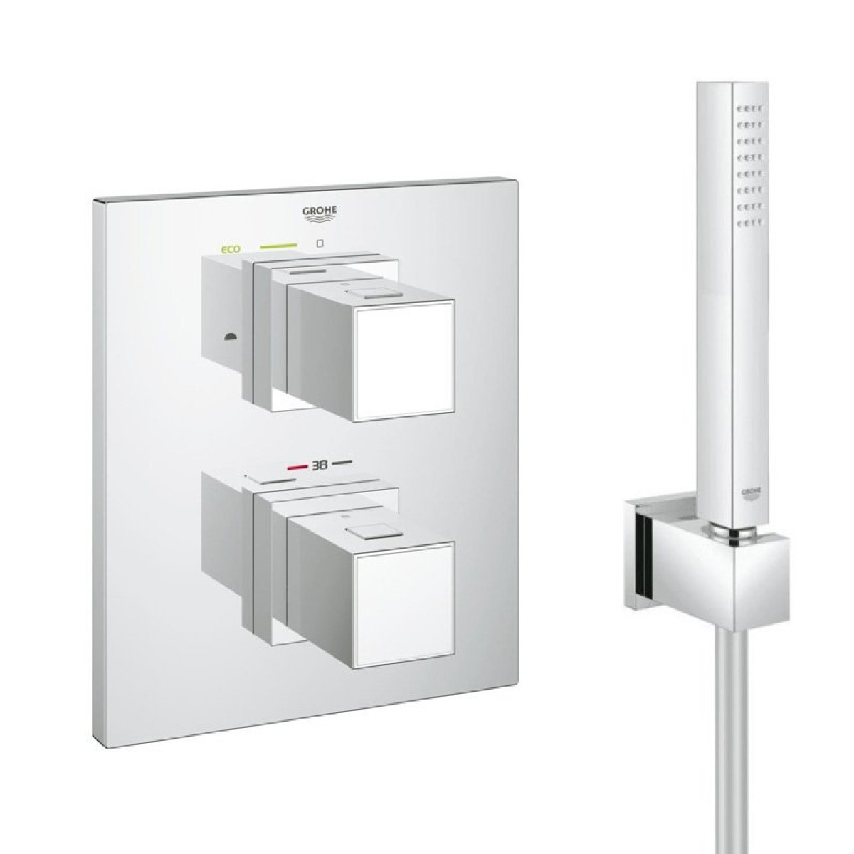 grohe grotherm cube thermostat shower with integrated 2 way diverter 34506000. Black Bedroom Furniture Sets. Home Design Ideas