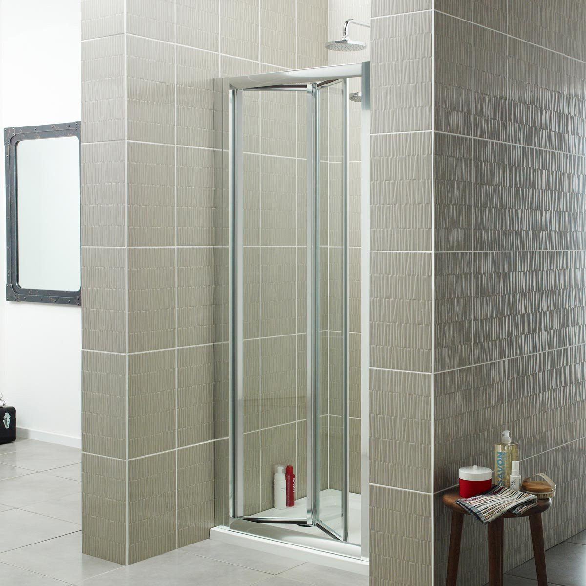 Accordion Door For Bathroom: Kartell Koncept Bi-Fold Shower Door 800mm