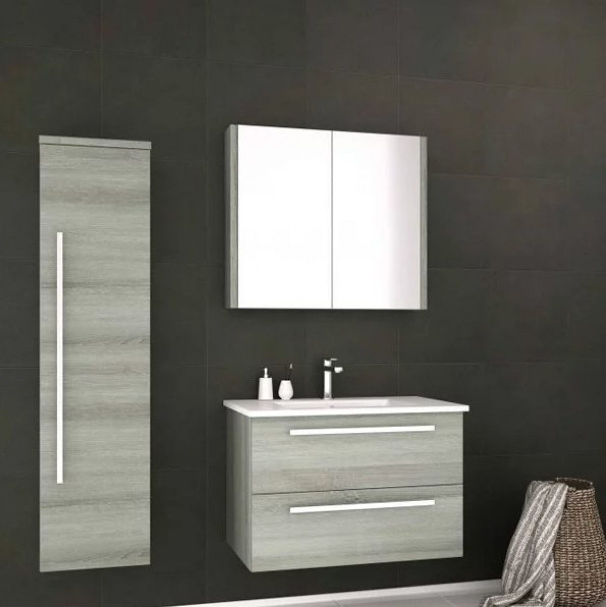 Rogerseller Fold Single 750 Heated Towel Rails: Kartell Purity 750mm Wall Mounted Drawer Unit & Basin