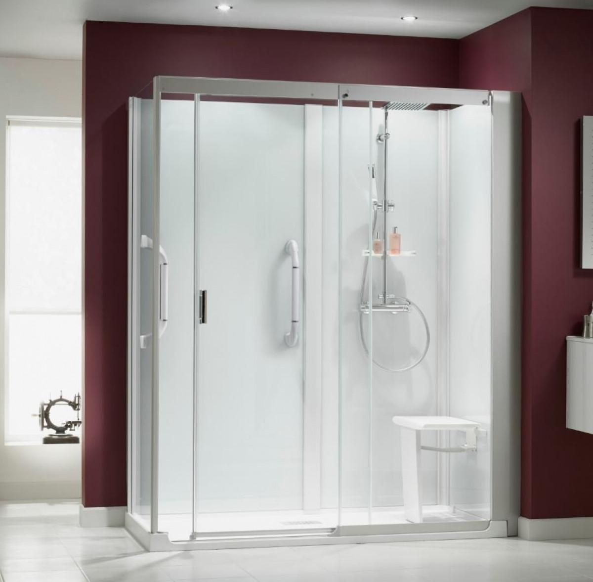 Kinemagic Serenity 1700 x 900mm corner sliding shower cubicle ...
