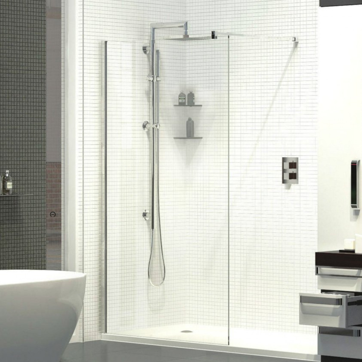 Kudos Ultimate 1500mm Complete Walk-in Recess Enclosure Package ...