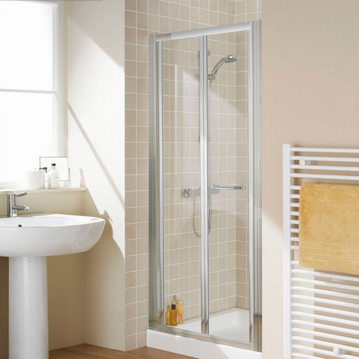 Lakes 1000mm semi frameless bifold shower door lkvb1000 05 for 1000mm shower door