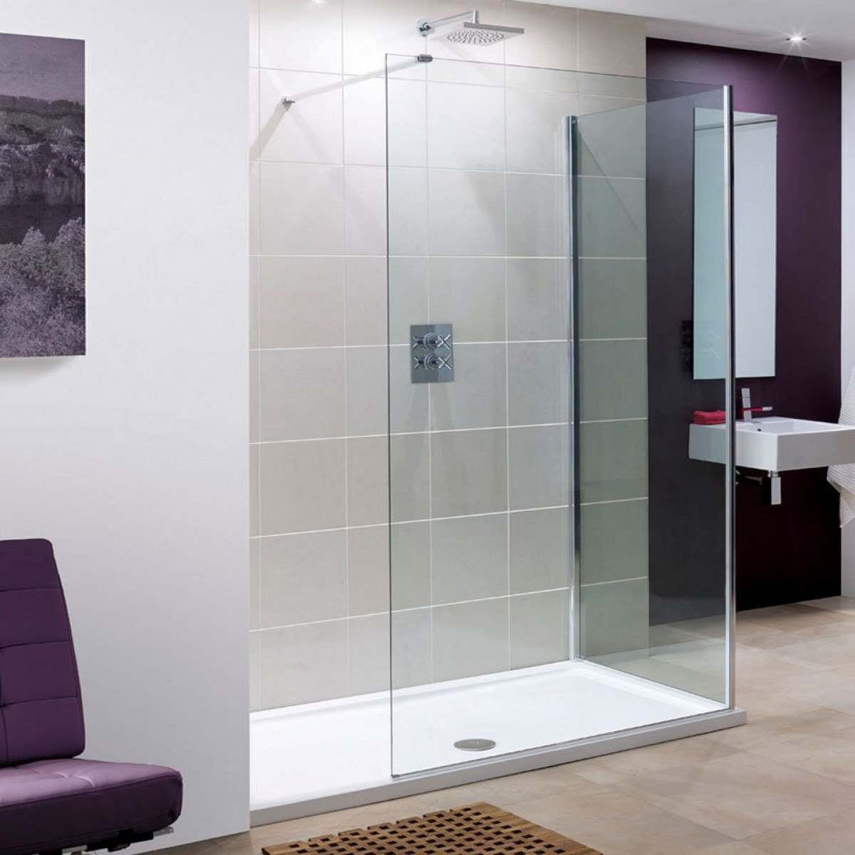 Lakes 950mm Marseilles Walk In Shower Panel Lk815095s