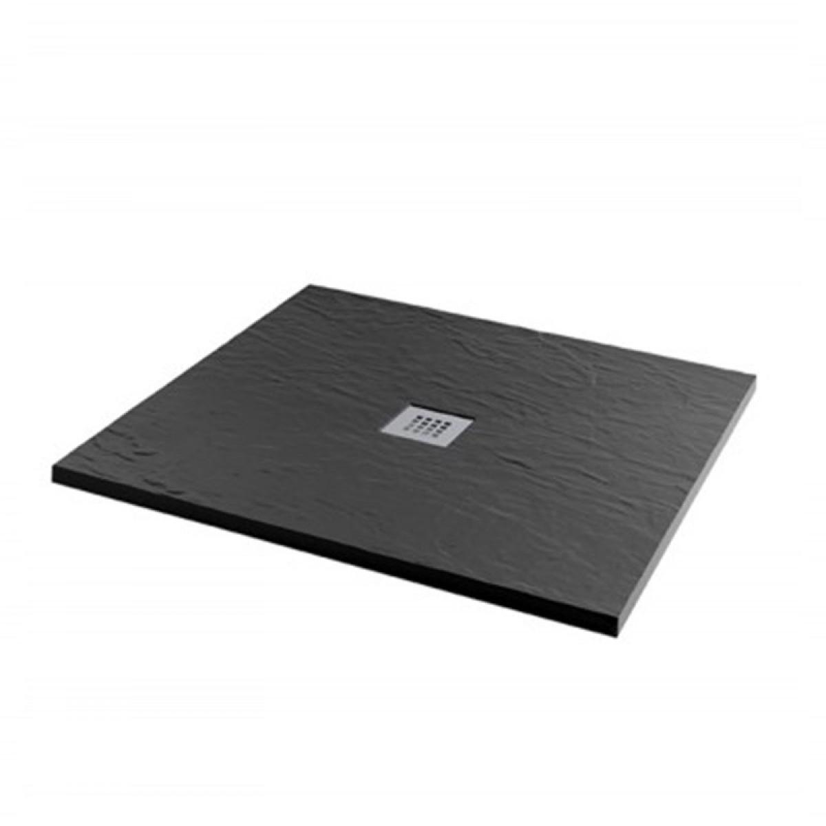 mx minerals 1000 x 1000mm square jet black shower tray x2s. Black Bedroom Furniture Sets. Home Design Ideas