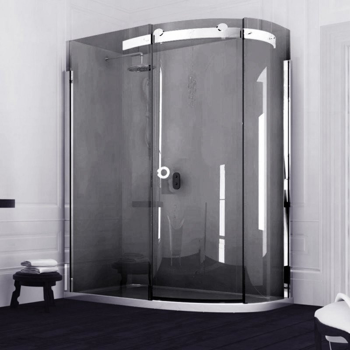 Merlyn 10 Series Offset Quadrant Smoked Black Shower