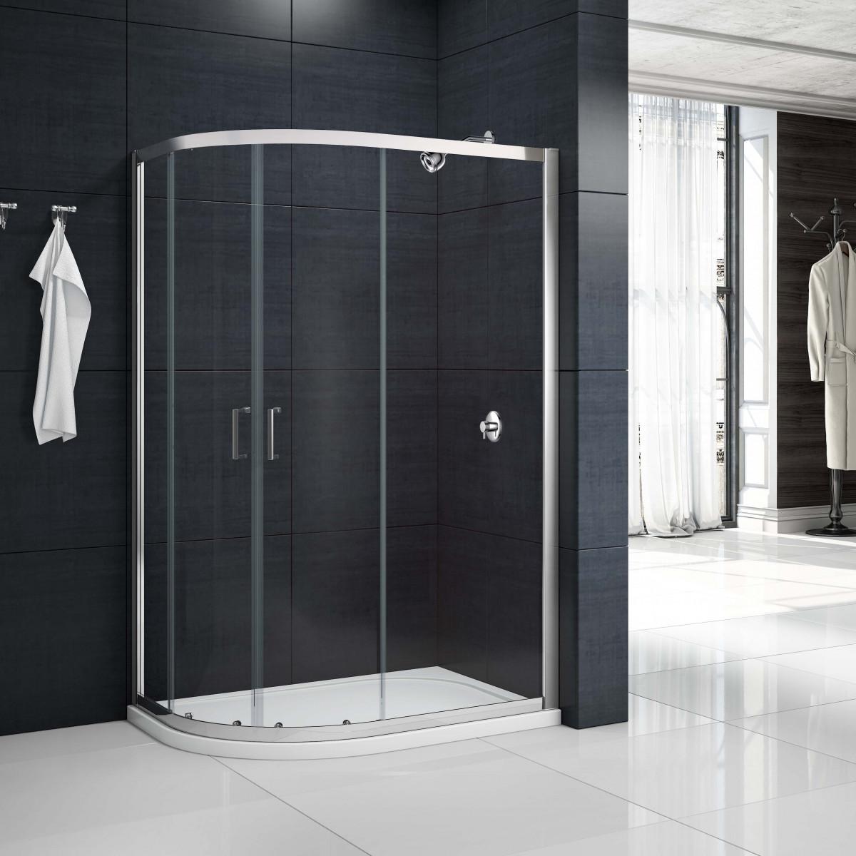 Merlyn 2 door offset quadrant shower enclosure 1200 x for 1200 shower door
