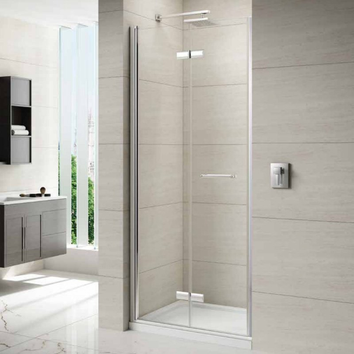 Merlyn 8 series 1000mm frameless hinged bifold door for 1000mm shower door